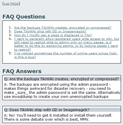 List of FAQ Questions.