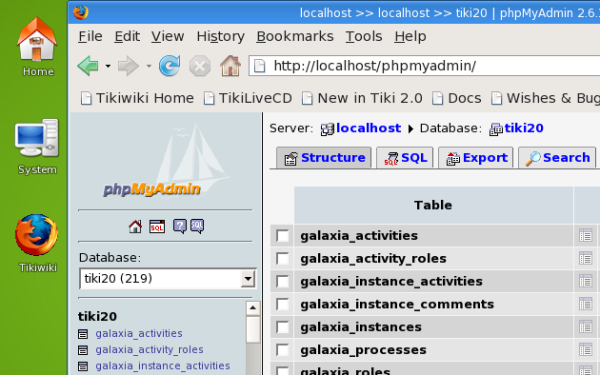 Phpmyadmin is included to easily manage your database through a web interface